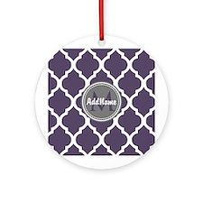 Monogrammed Purple & Grey Quatref Ornament (Round)