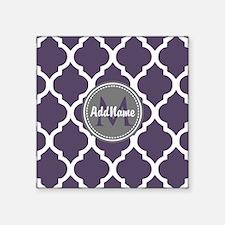 "Monogrammed Purple & Grey Q Square Sticker 3"" x 3"""