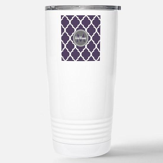 Monogrammed Purple & Gr Stainless Steel Travel Mug
