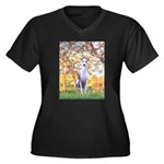 Spring / Whippet Women's Plus Size V-Neck Dark T-S