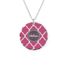 Monogrammed Pink Grey Quatr Necklace