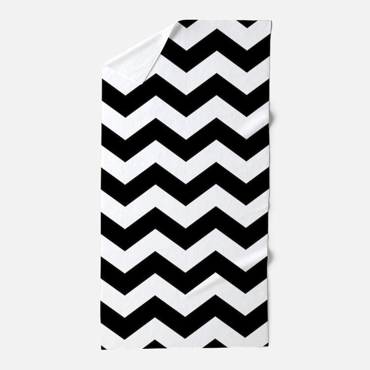 Black And White Chevron Beach Towel