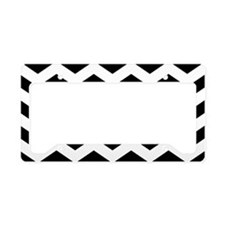 Black And White Chevron License Plate Holder