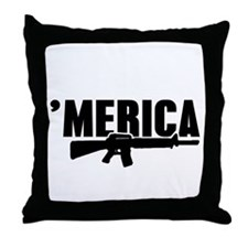 MERICA Rifle Gun Throw Pillow