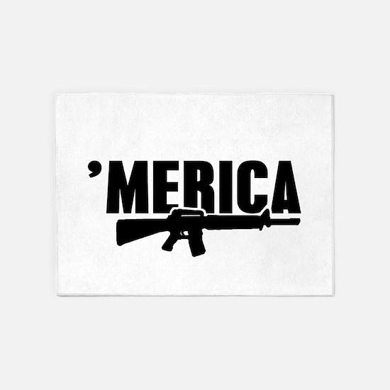 MERICA Rifle Gun 5'x7'Area Rug