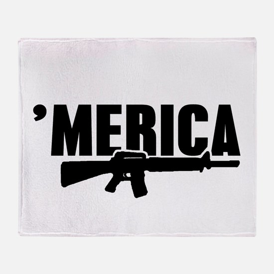MERICA Rifle Gun Throw Blanket