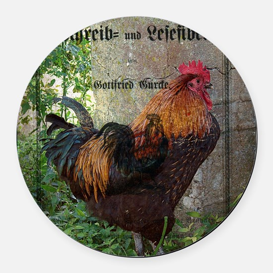 Unique Rooster art Round Car Magnet