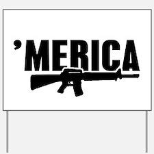 MERICA Rifle Gun Yard Sign