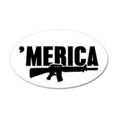MERICA Rifle Gun Wall Decal