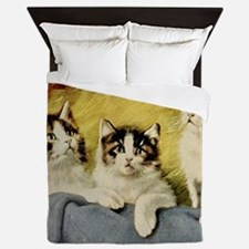 Three Kittens by E Graham Queen Duvet