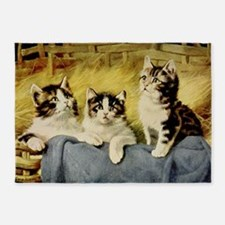 Three Kittens by E Graham 5'x7'Area Rug