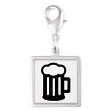 Beer Silver Square Charm