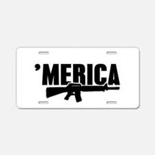 MERICA Rifle Gun Aluminum License Plate