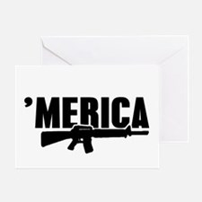 MERICA Rifle Gun Greeting Cards