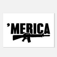 MERICA Rifle Gun Postcards (Package of 8)