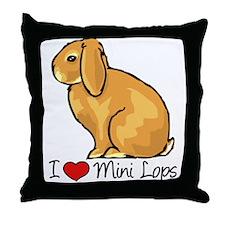 I Heart Mini Lops Throw Pillow
