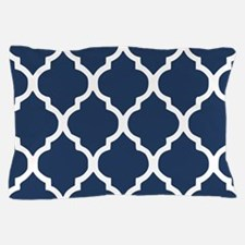 Navy Blue Quatrefoil Pattern Pillow Case