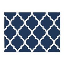 Navy Blue Quatrefoil Pattern 5'x7'Area Rug