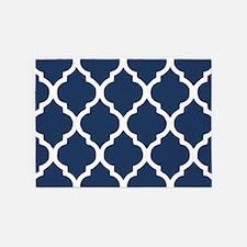 Navy Blue Quatrefoil Pattern 5'x7'Area Rug