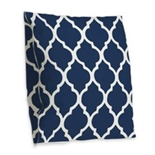 Navy Blue Quatrefoil Pattern Burlap Throw Pillow