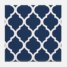 Navy Blue Quatrefoil Pattern Tile Coaster