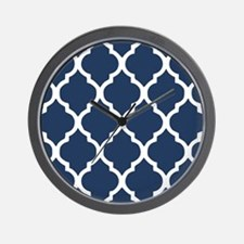 Navy Blue Quatrefoil Pattern Wall Clock