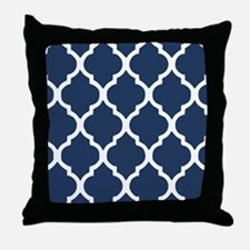 Navy Blue Quatrefoil Pattern Throw Pillow