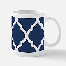 Navy Blue Quatrefoil Pattern Mug