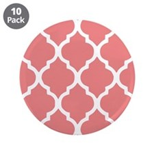 "Coral Quatrefoil Tiles Patte 3.5"" Button (10 pack)"