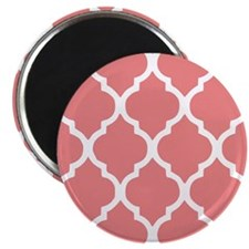 """Coral Quatrefoil Tiles Pat 2.25"""" Magnet (100 pack)"""