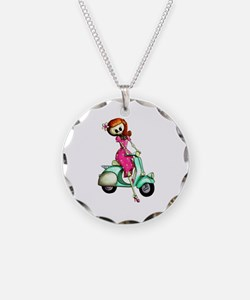 Skeleton Girl on The Scooter Necklace