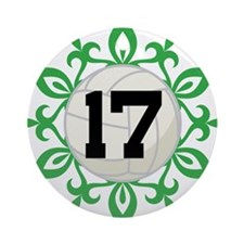 Volleyball Player Number 17 Ornament (Round)