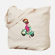 Skeleton Girl on The Scooter Tote Bag