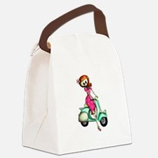 Skeleton Girl on The Scooter Canvas Lunch Bag