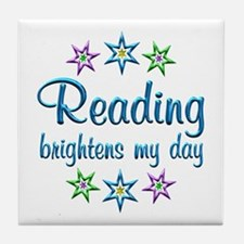 Reading Brightens My Day Tile Coaster