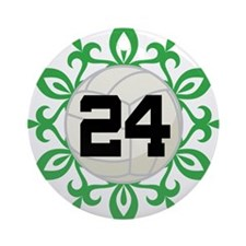 Volleyball Player Number 24 Ornament (Round)