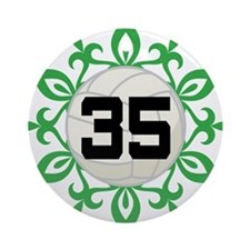 Volleyball Player Number 35 Ornament (Round)