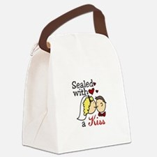 With A Kiss Canvas Lunch Bag