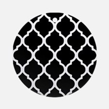 Quatrefoil Black and White Ornament (Round)