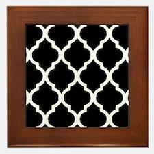 Quatrefoil Black and White Framed Tile