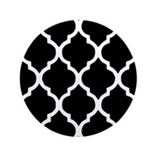 "Quatrefoil Black and White 3.5"" Button (100 pack)"