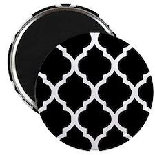 """Quatrefoil Black and White 2.25"""" Magnet (100 pack)"""