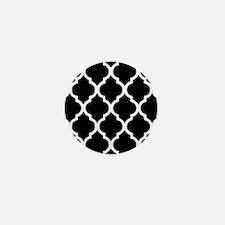 Quatrefoil Black and White Mini Button