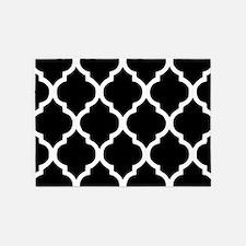 Quatrefoil Black and White 5'x7'Area Rug
