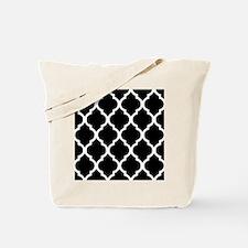 Quatrefoil Black and White Tote Bag