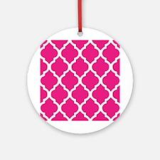 Quatrefoil Hot Pink Ornament (Round)