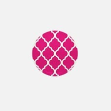 Quatrefoil Hot Pink Mini Button
