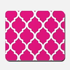 Quatrefoil Hot Pink Mousepad