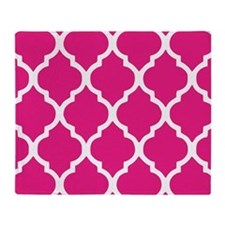 Quatrefoil Hot Pink Throw Blanket