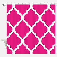 Quatrefoil Hot Pink Shower Curtain